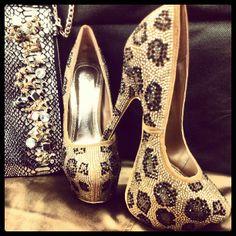 Leopard rhinestone heels