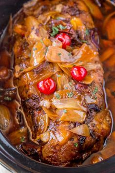Pepper Pulled Pork is sweet and spicy with brown sugar, maraschino cherries and candied jalapenos. Perfect for dinners or lunches in sandwiches and so easy to. Slow Cooker Pork Loin, Slow Cooker Bacon, Slow Cooker Recipes, Crockpot Recipes, Cooking Recipes, Slow Cooking, Slow Cooked Meals, Pork Meals, Easy Cooking