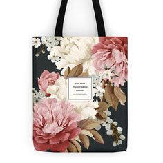 Literary Tote Bag Floral Tote Wordsworth Handmade by ObviousState