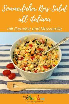 Reissalate sind einfach und schnell gemacht. MIt saisonalem Gemüse sind sie gesund und schmackhaft - gerade für Grillabende und sommerliche Buffets. #Sommersalat #Reis #LaCucinaAngelone #DieAngelones Buffets, Foodblogger, Recipes, Happy, Healthy Salads, Family Friendly Recipes, Italian Cuisine, Recipies