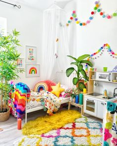 ***GIVEAWAY CLOSED*** I'm sure you have noticed how much I love kids decor and you might have also noticed my ever growing collection of… Rainbow Bedroom, Rainbow Room Kids, Rainbow Nursery, Bright Nursery, Rainbow House, Kids Bedroom Designs, Playroom Design, Kids Room Design, Toddler Rooms