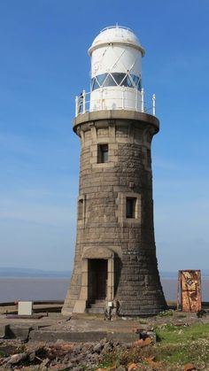 Avonmouth North Pier Lighthouse was built in 1907-1908 of Norwegian Granite.overlooking the Bristol Channel, England, UK>