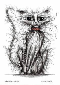 Hello Fuzzy cat Print download by KeithMills on Etsy, £3.00