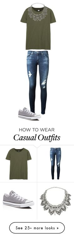"""My Casual School Day Outfit"" by glitter-dix on Polyvore featuring AG Adriano Goldschmied, NLST, Converse, Miss Selfridge and glitterdix2002"