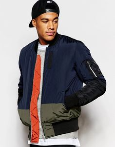 ASOS   ASOS Cut and Sew Bomber Jacket with MA1 Pocket