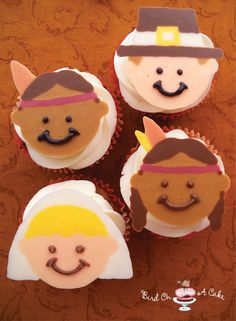 Thanksgiving Pilgrim & Indian Cupcake Toppers  Poor Thanksgiving.  It seems to get forgotten in the mad rush to Christmas!    And Thanksgiving is such a wonderful holiday...  I love that we Americans dedicate a day to being thankful!  We gather our families together and focus on what is really important in life.