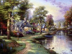 Thomas Kinkade Hometown Lake By