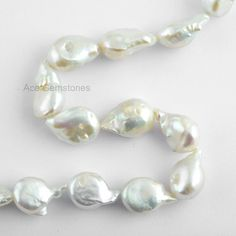 White Freshwater Pearl Smooth Drop Beads White by AceGemstones