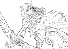 Sylvanas Windrunner World of Warcraft coloring pages for kids