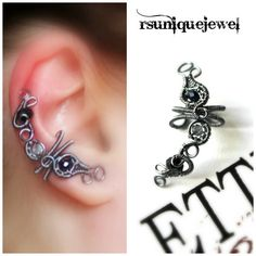 Wire Wrapped Ear Cuff No piercing earring by rsuniquejewel on Etsy
