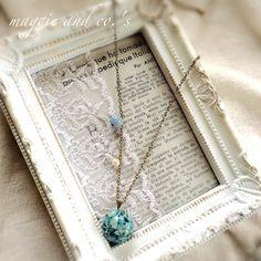 ハンドメイドマーケット minne(ミンネ)| 【送料無料】botanical necklace fair~ライトブルーの紫陽花ネックレス~
