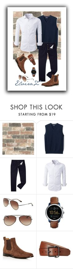 """""""Men`s  Fashion"""" by elza76 ❤ liked on Polyvore featuring Wall Pops!, Lands' End, Levi's, Ray-Ban, FOSSIL, Vince, Gucci, men's fashion and menswear"""