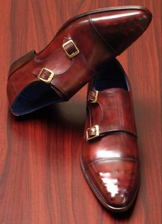Blue Dress Shoes, Double Monk Strap Shoes, Painting Leather, Derby Shoes, Formal Shoes, Luxury Shoes, Slip On Shoes, Oxford Shoes, Burgundy
