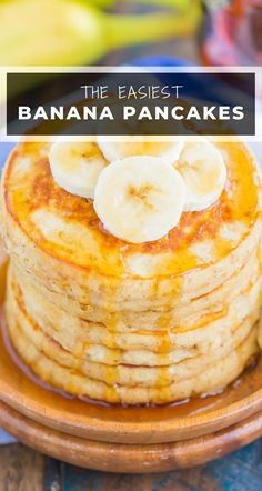Easy Banana Pancakes are light, fluffy, and easy to make. Top with some sliced bananas, a touch of butter and maple syrup for a deliciously simple breakfast! #pancakes #bananapancakes #easypancakes #fluffypancakes #pancakerecipe #bananarecipe #breakfast Breakfast Pancakes, Best Breakfast Recipes, Quick And Easy Breakfast, Banana Pancakes, Pancakes And Waffles, Breakfast Dishes, Breakfast Ideas, Superfood Recipes, Skinny Recipes