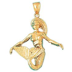14k Yellow or White Gold 3D Mermaid Dazzlers Pendant 1365