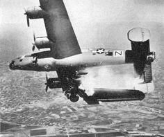 "10 Apr 45: Doomed B-24 Liberator flown by Col James Gilson and named for his son. ""Stevonovitch II"" (aka ""Black Nan"") was on what was supposed to be a milk run over Lugo, Italy, in support of the Battle of Bologna, when it was hit in the wing by German flak. All but one of the crew of 10 were killed. The bombardier was thrown clear and survived. The plane was a new Pathfinder Forces ship (PFF), the forerunner of modern GPS systems. #WWII #History"