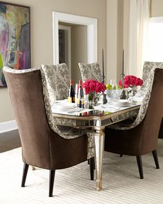 John-Richard Collection Eliza Mirrored Dining Table & Mentz Host Chair http://rstyle.me/n/d7htqr9te