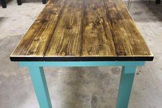 Jennifer's vintage dark walnut and turquoise 5ft James+James wood dining table. www.carpenterjames.com