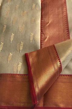 Senior group: Pastel Handloom Chanderi Tissue Silk Saree With Big Border Silk Saree Kanchipuram, Chanderi Silk Saree, Indian Silk Sarees, Silk Cotton Sarees, Organza Saree, Wedding Silk Saree, Bridal Sarees, Saree Trends, White Saree