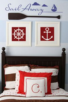 Sail Away vinyl lettering wall art decal sticker sailboat for boy's  nautical themed bedroom more designs available at www.lacybella.com