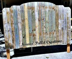 "RECYCLED WOOD PALLETS: Bump-Up King Size Headboard. The colors you see in the wood are natural, all we have done is sand it. You could apply a clear-coat and leave it alone. The dimensions are 78"" wide x 63"" high x 3.5"" deep. This one is getting a double color of paint and sells for $180. ""Naked"" we charge $150. Staining is $15 extra. Message us if you would like to update your bedroom. ( Twin size headboards for $75, Full, $100, Queen, $125, King for $150. These are all naked prices.)… Pallet Beds, Pallet Furniture, Furniture Ideas, Diy Headboards, Headboard Ideas, Beachy Room, Recycled Wood, Recycled Pallets, Up King"