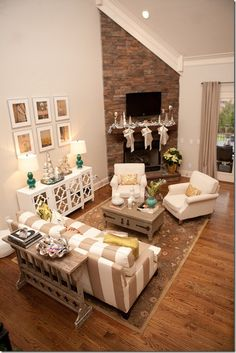Furniture Placement Around Corner Fireplace. Find ideas and inspiration for Furniture Placement Around Corner Fireplace to add to your own home. Small Living Room Layout, Living Room Furniture Layout, New Living Room, Living Room Designs, Living Room Corner Decor, Corner Fireplace Layout, Fireplace Design, Fireplace Ideas, Corner Fireplaces