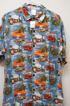 Castaway Cay Disney Cruise Line DCL Hawaiian Men Shirt Aloha Small New 2015 #DisneyParksExclusive