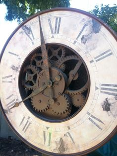 """Free Steampunk clock """"grandfather clock"""" project from free, salvaged, and cheap pieces."""