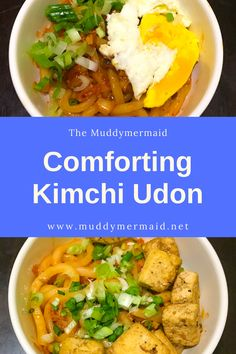 Sweet and savory veggie udon made in less than 10 minutes, vegetarian, vegan, meatless Monday Vegetarian Options, Cooking Instructions, How To Cook Eggs, Meatless Monday, Kimchi, Easy Meals, Veggies, Vegan, Kitchens