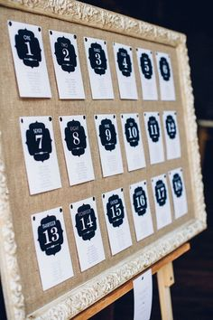 Wedding Seating Idea: Framed burlap board with the table numbers on it. Directing gusts where to sit.