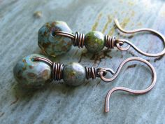 Hey, I found this really awesome Etsy listing at https://www.etsy.com/listing/157779710/green-blue-czech-glass-copper-earrings