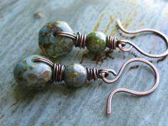 GreenBlue Czech Glass Copper Earrings by valleybeadglassart - like the use of the bead on it's side
