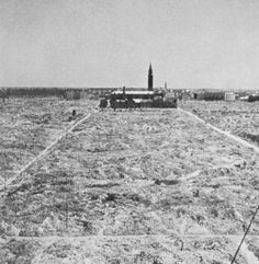 The Warsaw Ghetto, photographed after being destroyed by the Germans in 1945.  The church remained only because it was being used for ammunitions storage.