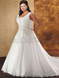 Ball Gown Organza Straps Sweep Embroidery Plus Size Wedding Dresses, wedding gowns, bridal dresses, bridal gowns
