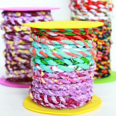 Here is a great way to use up lots of scrap fabric! Make fabric twine!