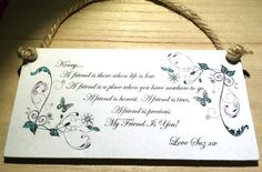❤ PERSONALISED shabby chic BEST FRIEND hanging handmade printed 6x3  plaque gift