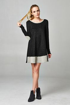 Sweater dress with elbow patch detail CA$39.99