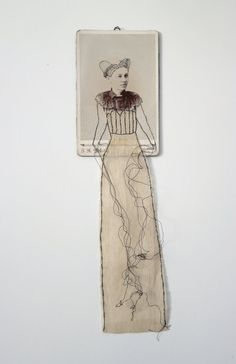 mixed media Embroidered Cabinet Card- Forgotten no.62 fiber art  textile art