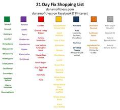 21 day fix shopping list