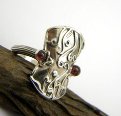 Sterling silver garnet ring, Etruscan Byzantine Style, handmade two stone ring, statement jewelry