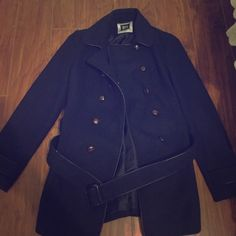 Beautiful Navy Coat A navy coat with brown trimming. It is in great shape! ❌No Trades❌ Jackets & Coats