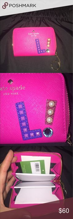 "Hartley lane Cassidy ""L"" key chain card holder Hot pink, brand new, dad ordered the wrong letter haha kate spade Accessories Key & Card Holders"