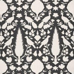 Chenonceau | 173563 in Charcoal | Schumacher Fabric |  Based on a documentary print, derived itself from a 17th-century Persian damask, Chenonceau features enchanting flora and fauna silhouettes. Also available as a wallcovering.