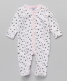 This Baby Steps White & Pink Hearts Footie - Infant by Baby Steps is perfect! #zulilyfinds