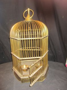 Vintage Large Hexagon Solid Brass Birdcage 25 by bbsbrassandbounty, $275.00