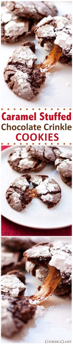 Salted Caramel Stuffed Chocolate Crinkle Cookies - these cookies are AMAZING!! Use Rolos if you want the caramel to stay soft.