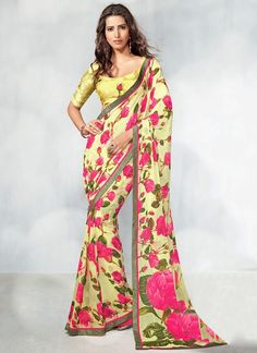 Ravishing Yellow #Printed #Georgette #Saree