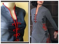 PIPING PLACKET NECK LINE to look fashionable and Trendy for kurtis and salwar kameez - Easy Sewing - YouTube