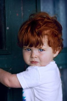 I love the colors and textures of the door on this one Little Babies, Cute Babies, Baby Kids, Baby Boy, Precious Children, Beautiful Children, Beautiful Babies, Red Head Kids, Redhead Baby
