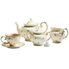 Coastline Imports Green Vintage Rose Tea Set : Bone China